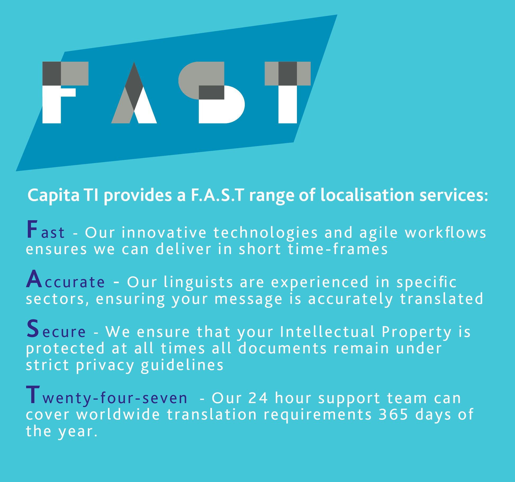 Fast, accurate, secure translations, 24/7.